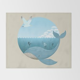 Whale & Seagull (US and THEM) Throw Blanket