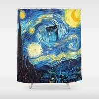 starry night Shower Curtains featuring STARRY by MiliarderBrown