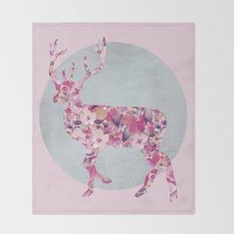 Flower Deer and circle pastel blue pink colors Throw Blanket
