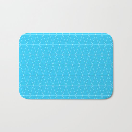 Simple Geometric Triangle Pattern- White on Teal - Mix & Match with Simplicity of life Bath Mat