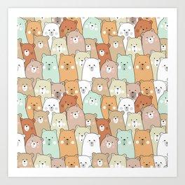 Polar Bear Party Pattern Art Print
