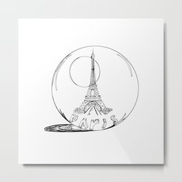 Paris in a glass ball .  City art, Decorative Prints, altwall, Home Decor Graphicdesign Metal Print