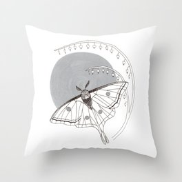 Moon Moth & Bleeding Heart Throw Pillow