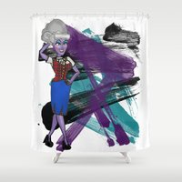 ursula Shower Curtains featuring Disneyland Ursula Evil Relations by Joey Noble