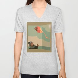 The boy with the kite. Dreams come true here, there and over there Unisex V-Neck