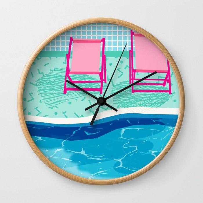 Vay-K - abstract memphis throwback poolside swim team palm springs vacation socal pool hang Wall Clock