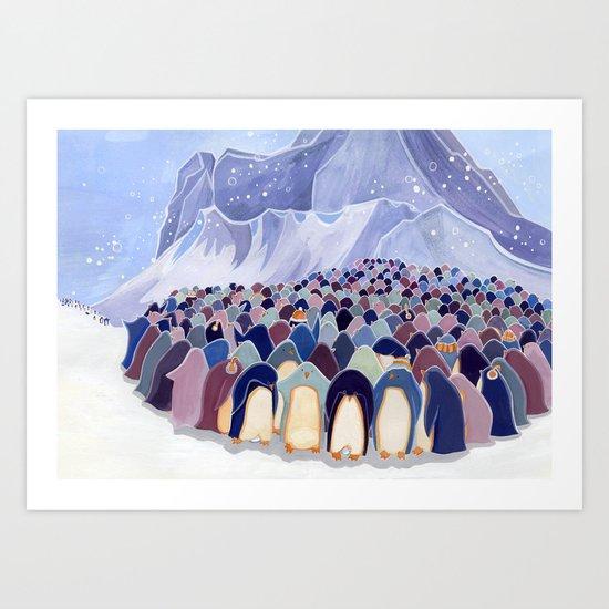 Huddling Penguins Art Print