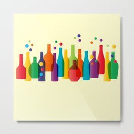 Colored bottles Metal Print