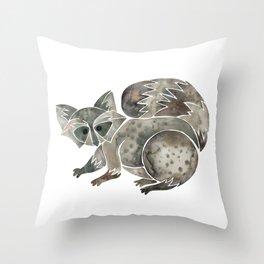 Raccoon – Warm Grey Palette Throw Pillow
