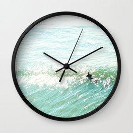 Lone Surfer in the Californian Sun Wall Clock