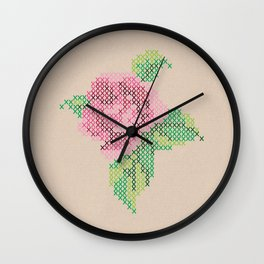 Rose cross stitch Wall Clock