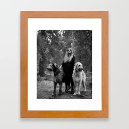 Cecilie and the wolfhounds. Framed Art Print