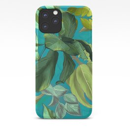 Green tropical heaven turquoise background  iPhone Case