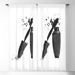 Black mascara fashion illustration Blackout Curtain