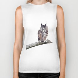Great Horned Owl perched on a branch isolated on white background Biker Tank