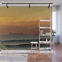 Sunset Seascape Waves Cargo Ship Wall Mural