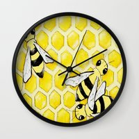 "bees Wall Clocks featuring ""Bees"" by Nicole Jolley"