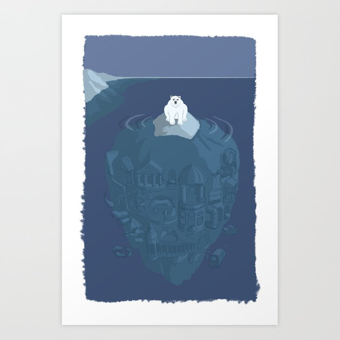Polar bear on ice berg Art Print