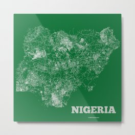 Nigeria Map Metal Print