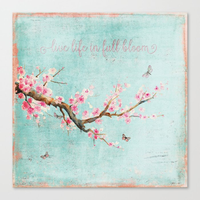 Live life in full bloom - Romantic Spring Cherryblossom butterfly Watercolor illustration on aqua Canvas Print