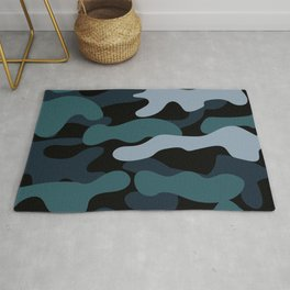 Camo Camouflage Print in Blue Rug