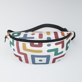 Colorful geometry line art pattern on white Fanny Pack