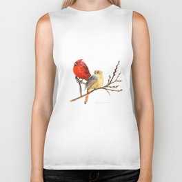 The Perfect Pair - Male and Female Cardinal by Teresa Thompson Biker Tank