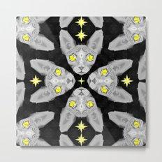 Sphynx Cat Black Pattern Metal Print