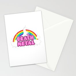 HEAVY METAL Funny Unicorn - Rainbow Mosh Parody Design) T-Shirt Stationery Cards