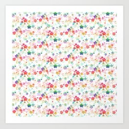 Small Rainbow Bright Pastel Watercolor Flowers and Vines Art Print