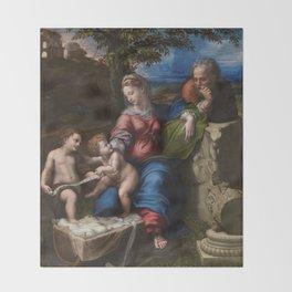 """Raffaello Sanzio da Urbino """"The Holy Family below the oak"""", 1518 Throw Blanket"""