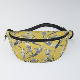 dog party indigo yellow Fanny Pack
