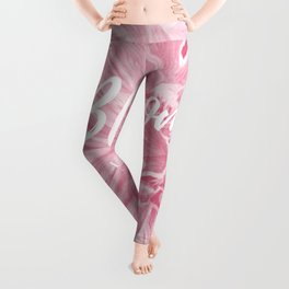 "A pink Hollyhock flower | ""Bloom and be wild"" Leggings"