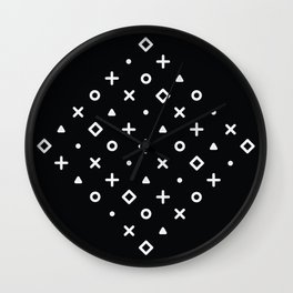 Diamond Pop Icons (White on Black) Wall Clock