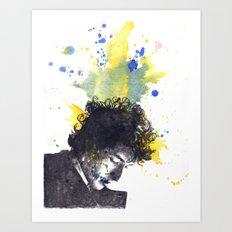 Portrait of Bob Dylan in Color Splash Art Print