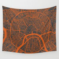 moscow Wall Tapestries featuring Moscow Map #1 by Map Map Maps