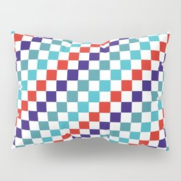 Gridded Red Tale Blue Pattern Pillow Sham