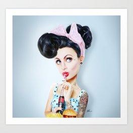 Pinup cool woman Art Print