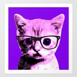 Pop Art Kitten with glasses #5 Art Print