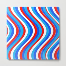 Wavy Lines - Red and Blue Metal Print