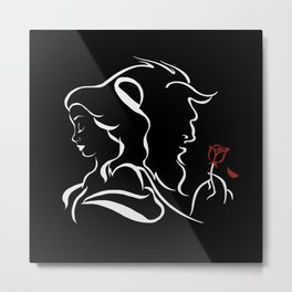 Beauty And Beast BW Metal Print