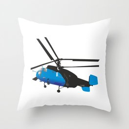 Black and Blue Helicopter Throw Pillow