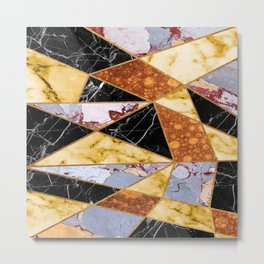 Abstract #458 Molten Metal & Marble Metal Print