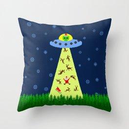 Alien abduction of Santa Claus (sweater) Throw Pillow