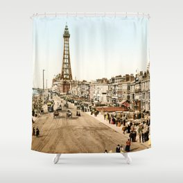 The Promenade at Blackpool, Lancashire, England 1898 Shower Curtain