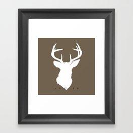 White Deer Silhouette on Dark Taupe Framed Art Print