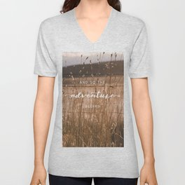 And So The Adventure Begins - Rustic Western Unisex V-Neck