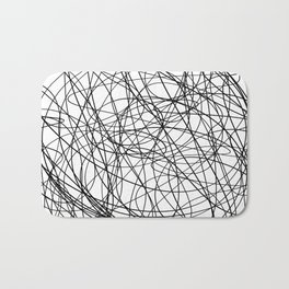 Black line doodle single line Bath Mat