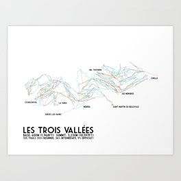 Les Trois Vallees, Savoie, France - NA Edition (Labeled) - Minimalist Trail Art Art Print