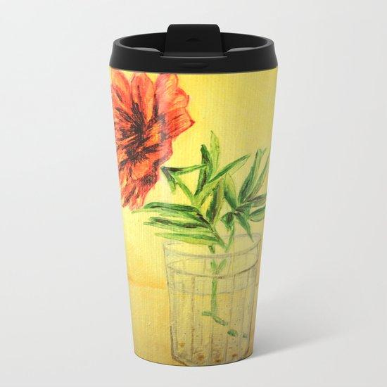 flower in a glass Metal Travel Mug